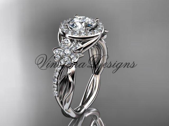 Platinum diamond Cherry Blossom flower, Sakura engagement ring One Moissanite VD10039