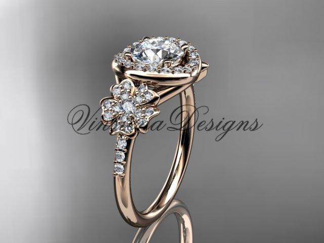 14kt rose gold diamond Cherry Blossom flower, Sakura engagement ring, Moissanite VD8201