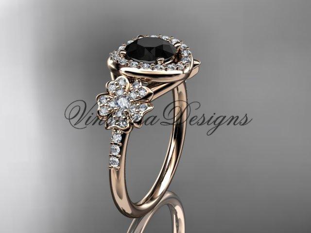 14kt rose gold diamond Cherry Blossom flower, Sakura engagement ring, Black Diamond VD8201