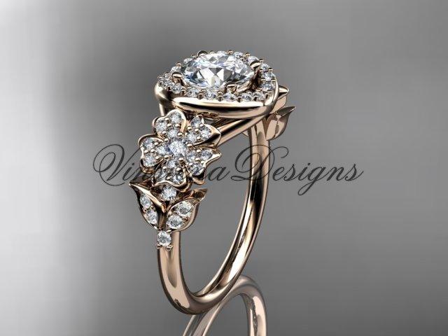 14kt rose gold diamond Cherry Blossom flower, Sakura engagement ring VD8201L
