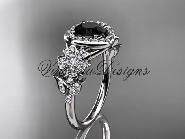 14kt white gold diamond Cherry Blossom flower, Sakura engagement ring, Black Diamond VD8201L