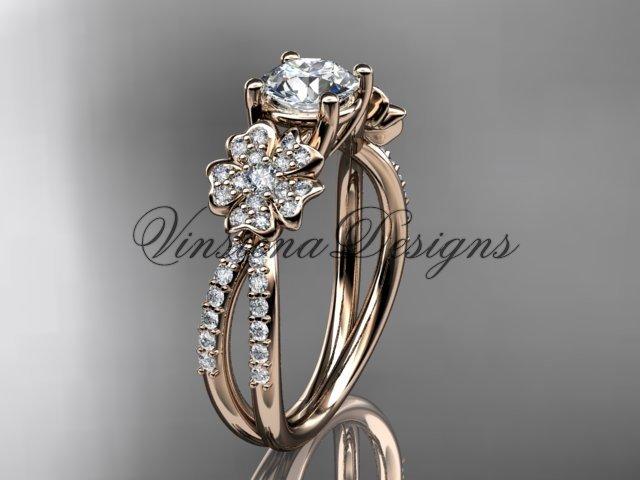 14kt rose gold diamond Cherry Blossom flower, Sakura engagement ring VD8214