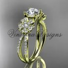 14kt yellow gold diamond Cherry Blossom flower, Sakura engagement ring Moissanite VD8214