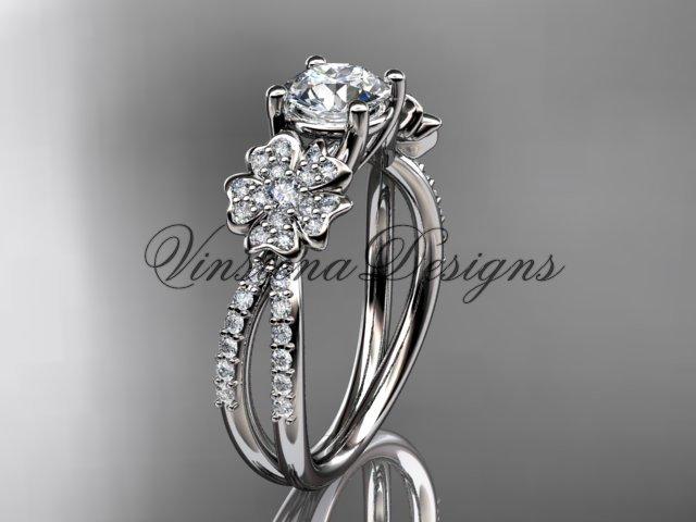 14kt white gold diamond Cherry Blossom flower, Sakura engagement ring VD8214