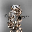 14kt rose gold diamond Cherry Blossom flower, Sakura engagement ring Moissanite VD8215