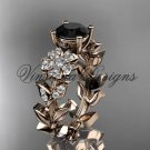 14kt rose gold diamond Cherry Blossom flower, Sakura engagement ring Black Diamond VD8215