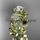 14kt yellow gold diamond Cherry Blossom flower, Sakura engagement ring Moissanite VD8215