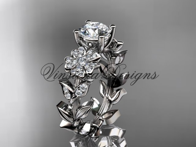 14kt white gold diamond Cherry Blossom flower, Sakura engagement ring VD8215