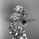 14kt white gold diamond Cherry Blossom flower, Sakura engagement ring Moissanite VD8215