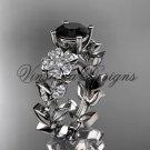 14kt white gold diamond Cherry Blossom flower, Sakura engagement ring Black Diamond VD8215