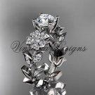 platinum diamond Cherry Blossom flower, Sakura engagement ring Moissanite VD8215