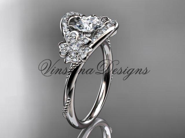 Platinum diamond Cherry Blossom flower, Sakura engagement ring Moissanite VD8326