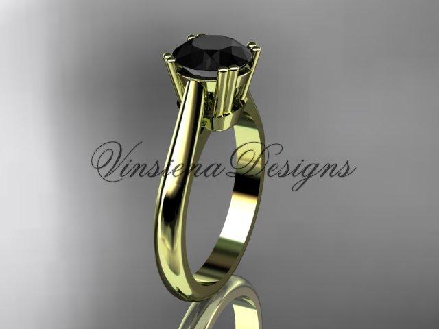 14kt yellow gold engagement ring, Black Diamond VD10058