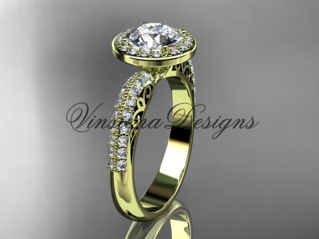 """14kt yellow gold diamond Fleur de Lis engagement ring, """"Forever One"""" Moissanite VD10057"""