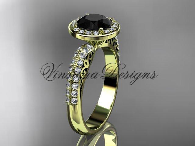14kt yellow gold diamond Fleur de Lis engagement ring, Black Diamond VD10057