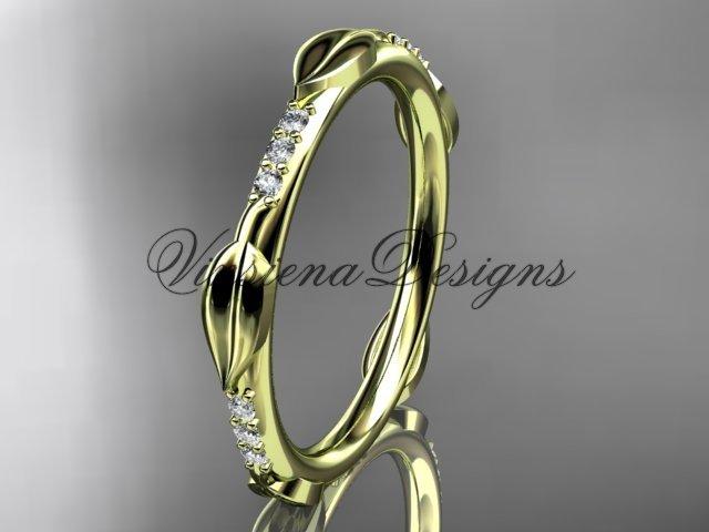 14k yellow diamond leaf wedding band VD10061