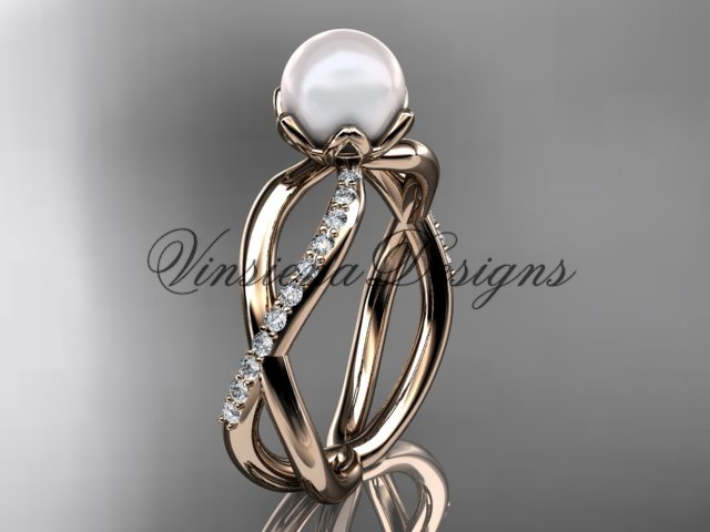14kt rose gold diamond, pearl engagement ring VP870