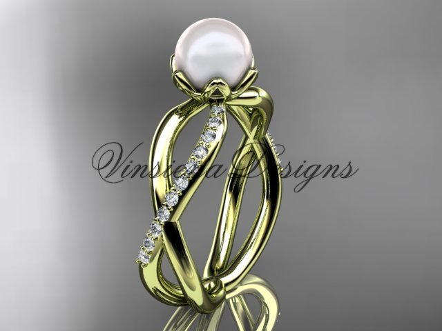 14kt yellow gold diamond, pearl engagement ring VP870