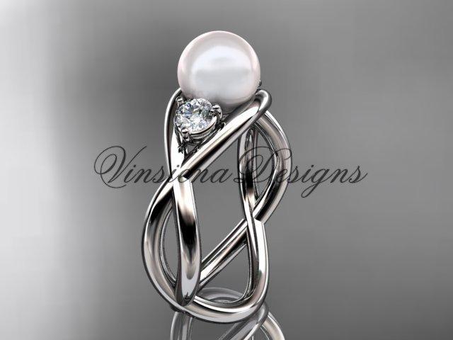 14kt white gold diamond, pearl engagement ring VP8156