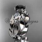 14k white gold leaf and vine, tulip flower engagement ring, Black Diamond VD10049