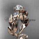 """14k rose gold leaf and vine, tulip flower engagement ring, """"Forever One"""" Moissanite VD10050"""