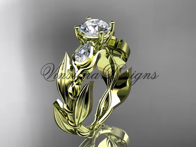 "14k yellow gold leaf and vine, tulip flower engagement ring, ""Forever One"" Moissanite VD10050"