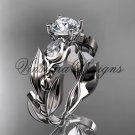"""Platinum leaf and vine, tulip flower engagement ring, """"Forever One"""" Moissanite VD10050"""
