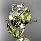 "14kt yellow gold diamond, leaf and vine,  engagement ring, ""Forever One"" Moissanite VD10051"