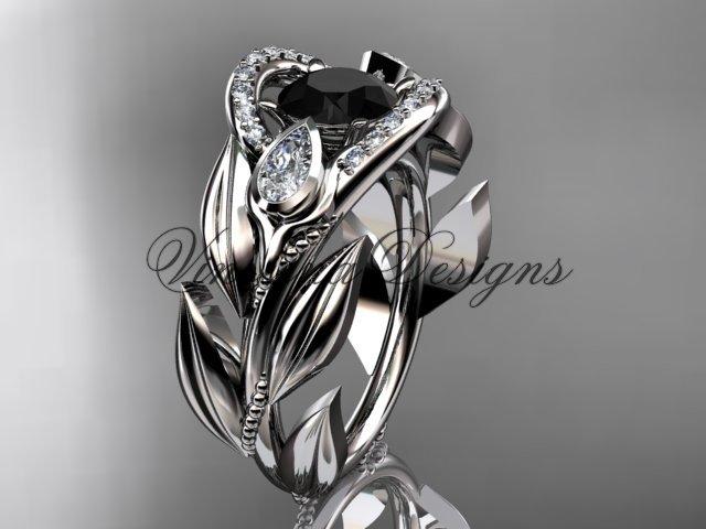 14kt white gold diamond, leaf and vine, tulip flower engagement ring, Black Diamond VD10051
