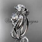 """Platinum diamond, leaf and vine, tulip flower engagement ring, """"Forever One"""" Moissanite VD10052"""