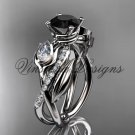 Platinum diamond, leaf and vine, tulip flower engagement ring, Black Diamond VD10052