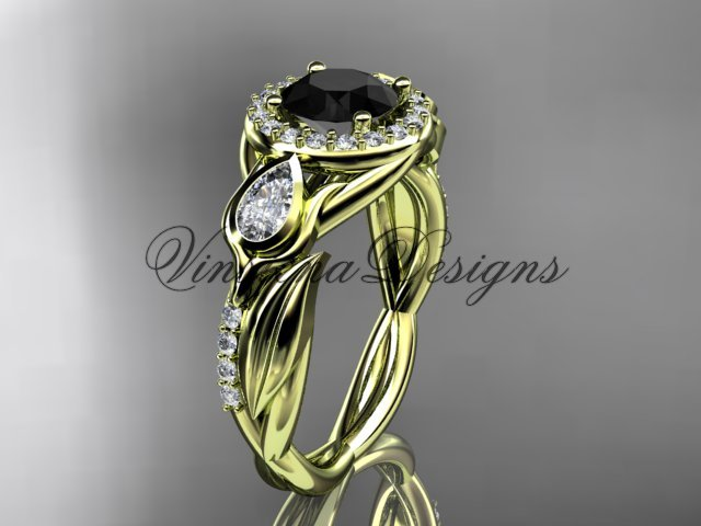 14kt yellow gold diamond leaf and vine, tulip flower engagement ring, Black Diamond VD10054