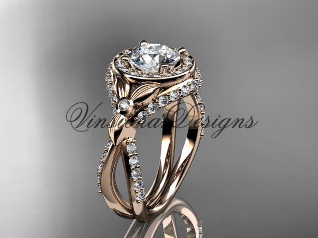 14k rose gold leaf and vine, flower engagement ring,  Moissanite VD10065