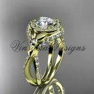 14k yellow gold leaf and vine, flower engagement ring,  Moissanite VD10065