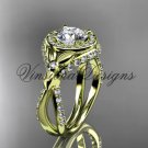 14k yellow gold leaf and vine, flower engagement ring, VD10065