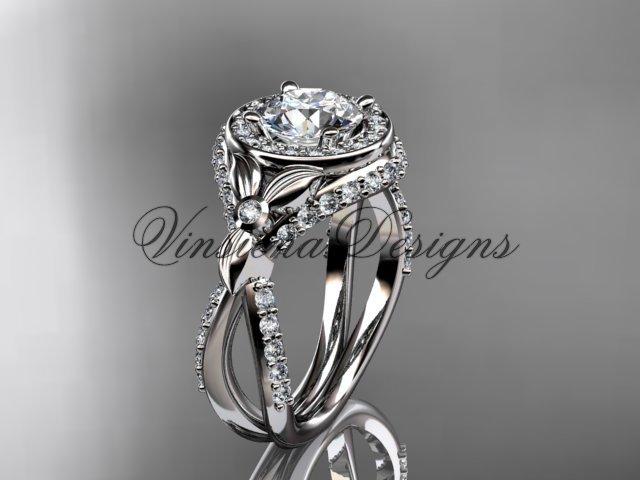 Platinum leaf and vine, flower engagement ring, VD10065