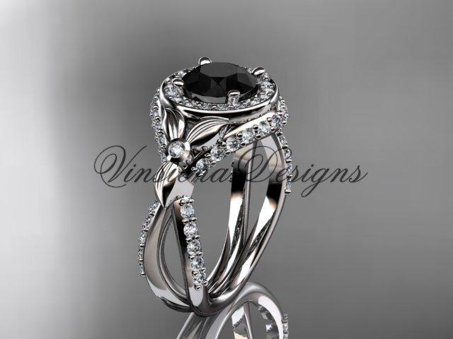 Platinum leaf and vine, flower engagement ring, Black Diamond VD10065
