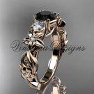 14kt rose gold Three stone engagement ring, Black Diamond VD10066
