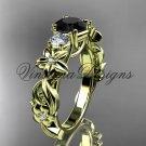 14kt yellow gold Three stone engagement ring, Black Diamond VD10066