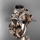 14k rose gold Three stone engagement ring set, Black Diamond VD10066S
