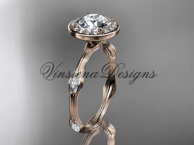 """14k rose gold leaf and vine engagement ring, """"Forever One"""" Moissanite VD10075"""