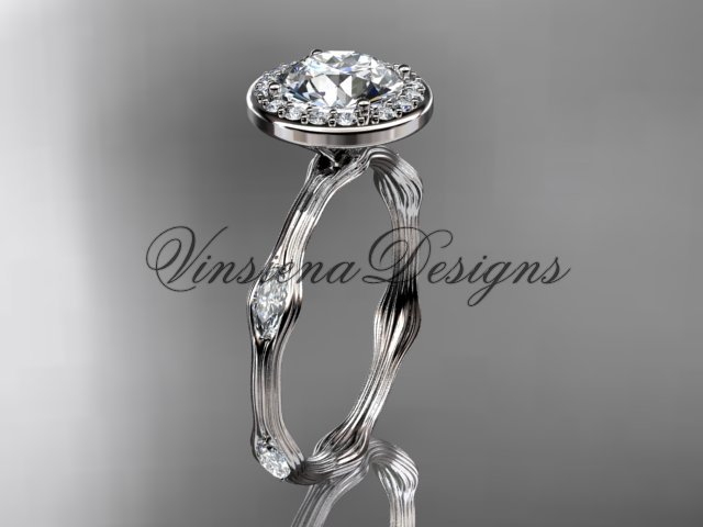 platinum leaf and vine engagement ring VD10075