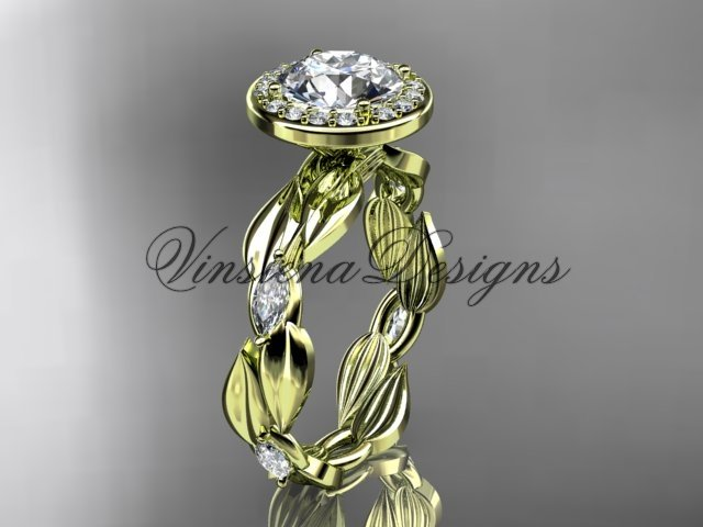 14k yellow gold leaf and vine engagement ring VD10076