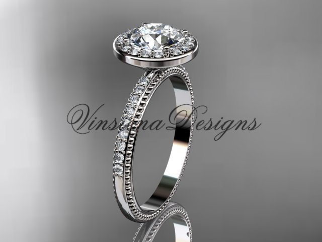 Platinum vine engagement ring VD10077