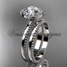"""platinum engagement ring, wedding set """"Forever One"""" Moissanite VD10078S"""
