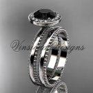 platinum engagement ring, wedding set Black Diamond VD10078S