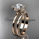 "14k rose gold engagement ring, wedding set ""Forever One"" Moissanite VD10078S"