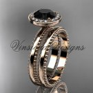 14kt rose gold engagement ring, wedding set Black Diamond VD10078S