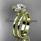 """14k yellow gold engagement ring, wedding set """"Forever One"""" Moissanite VD10078S"""