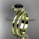 14kt yellow gold engagement ring, wedding set Black Diamond VD10078S